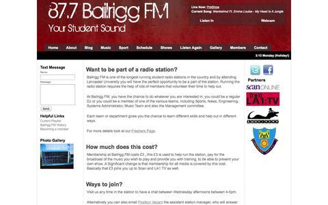 Screenshot of Signup Page bailriggfm.co.uk - 87.7 Bailrigg FM :: Join Us :: The Original Student Sound - captured Sept. 30, 2014