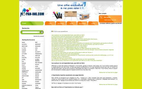 Screenshot of FAQ Page nopan-ink.com - Foire aux questions de Nopan ink : Cartouches d'encre génériques et marques à prix discount - captured Feb. 17, 2016
