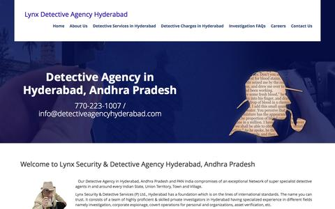 Screenshot of Home Page detectiveagencyhyderabad.com - Top Private Detective Agency in Hyderabad, Andhra Pradesh with Private Detectives in Hyderabad - captured Sept. 18, 2015