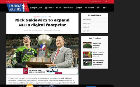 Screenshot of laxallstars.com - Nick Sakiewicz to expand National Lacrosse League's digital footprint - captured Aug. 25, 2016