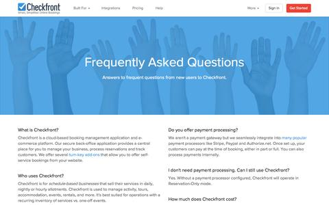 Screenshot of FAQ Page checkfront.com - Frequently Asked Questions about Checkfront - captured Oct. 29, 2015