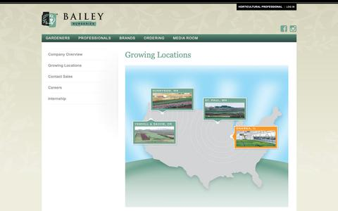 Screenshot of Locations Page baileynurseries.com - Growing Locations - captured Oct. 29, 2018