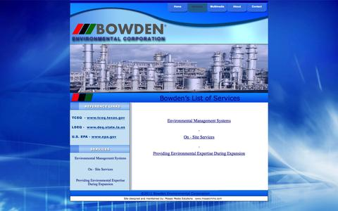 Screenshot of Services Page bowdenenv.com - BEC Services - captured Oct. 5, 2014