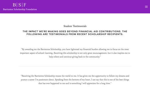 Screenshot of Testimonials Page barrientosscholarship.org - Testimonials — Barrientos Scholarship Foundation - captured Oct. 10, 2017