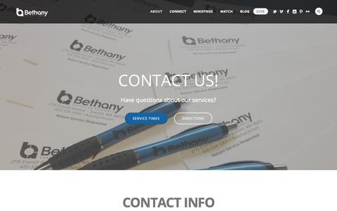 Screenshot of Contact Page bcachurch.com - Contact Us - Bethany Christian Assembly - captured Oct. 5, 2018