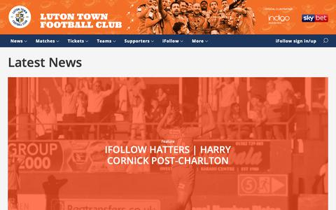 Screenshot of Press Page lutontown.co.uk - Latest News - Luton Town - captured Sept. 30, 2018