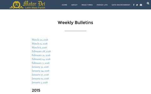Screenshot of materdeiparish.com - Weekly Bulletins - Mater Dei Latin Mass Parish - captured March 20, 2016