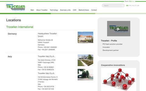 Screenshot of Locations Page trocellen.com - Locations - Trocellen - captured Oct. 9, 2014
