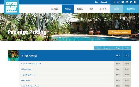 Screenshot of Pricing Page safarisurfschool.com - Safari Surf School | The Ultimate Surf Camp - Nosara, Costa Rica - captured Oct. 4, 2014