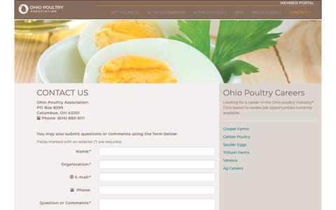 Screenshot of Contact Page Jobs Page ohiopoultry.org - Ohio Poultry Association: Contact Us: www.ohpoultry.org - captured Oct. 18, 2018