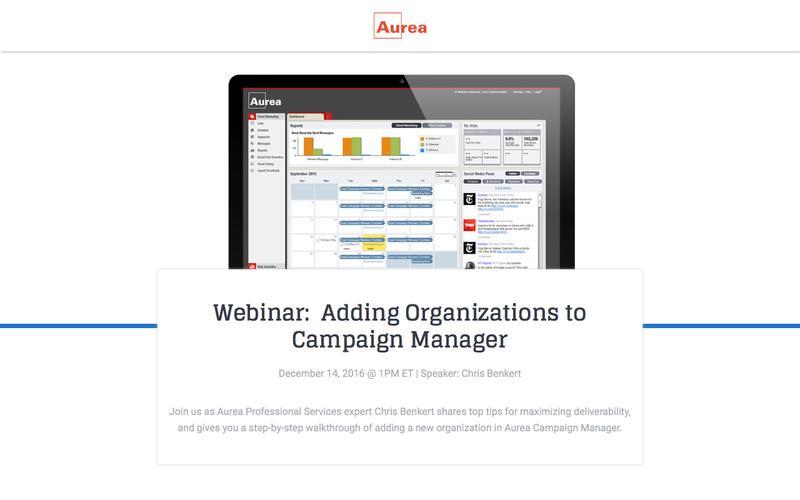 Webinar:  Adding Organizations to Campaign Manager | Aurea