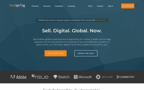 Screenshot of Home Page fastspring.com - Digital Commerce Platform for Software and SaaS | FastSpring - captured March 9, 2018
