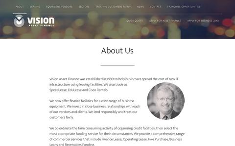 Screenshot of About Page visionassetfinance.com - About Us - Vision Asset Finance - captured Feb. 24, 2016