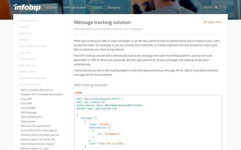Message tracking solution · SMS API | Infobip