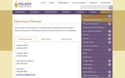 Department Directory - Palmer College of Chiropractic