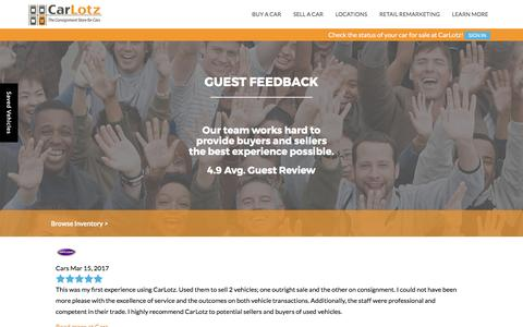 Screenshot of Testimonials Page carlotz.com - Customer Testimonials | CarLotz in Virginia and North Carolina - captured March 19, 2017