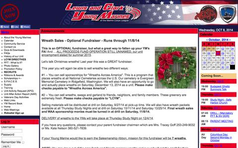 Screenshot of Home Page Menu Page lcym.org - Lewis & Clark Young Marines  - Portland, OR - Vancouver, WA - captured Oct. 8, 2014