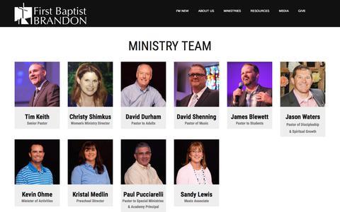 Screenshot of Team Page fbcbrandon.org - Staff - captured June 29, 2018