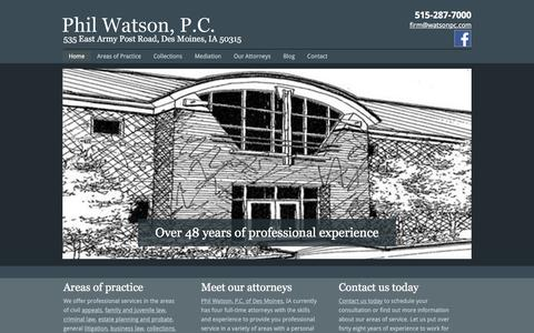 Screenshot of Home Page watsonpc.com - Phil Watson, P.C. - Collections | Law | Des Moines, IA - captured Jan. 28, 2016