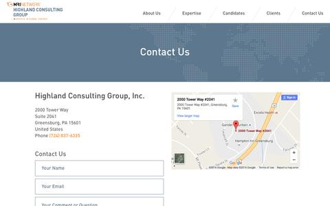 Screenshot of Contact Page mrinetwork.com - Highland Consulting Group, Inc. - MRINetwork - captured Nov. 9, 2016