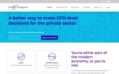 Screenshot of Home Page cxo-analytics.com - Home - CxO Analytics - captured July 24, 2018