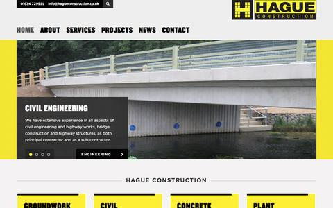 Screenshot of Home Page hagueconstruction.co.uk - Home   Hague Construction - captured July 10, 2016