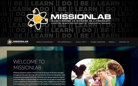 Screenshot of Home Page missionlab.com - Missionlab | Learn Missions. Do Missions. Be a Missionary - captured Oct. 9, 2014