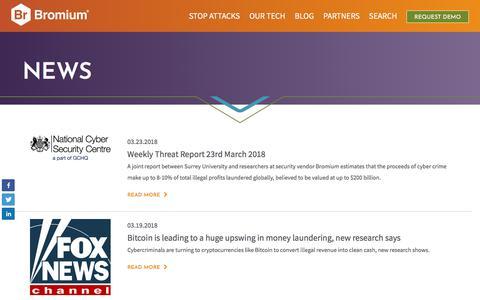 Screenshot of Press Page bromium.com - Bromium News Articles & Coverage - Bromium - captured April 10, 2018