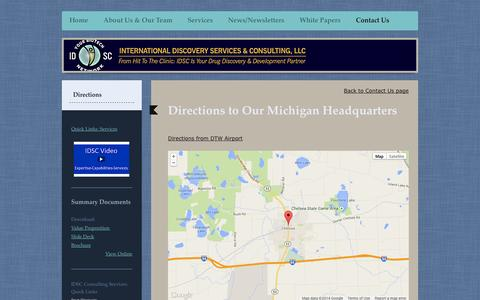 Screenshot of Maps & Directions Page idscbiotechnetwork.com - Directions - Pharmaceutical Consulting & Outsourcing Management - IDSC - captured Oct. 3, 2014