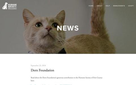 Screenshot of Press Page humanesocietyoferiecounty.org - News — Humane Society Of Erie County - captured Dec. 4, 2018