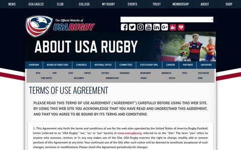 Screenshot of Terms Page usarugby.org - USA Rugby Terms of Use Agreement - captured Oct. 5, 2016