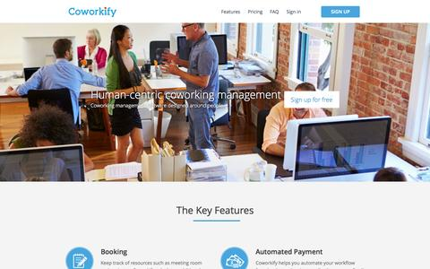 Screenshot of Contact Page coworkify.com - Coworkify | Coworking management software - captured Oct. 22, 2014