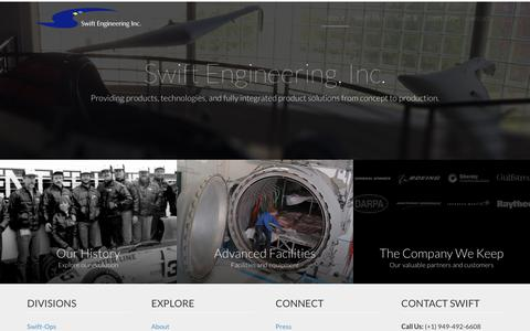 Screenshot of About Page swiftengineering.com - Swift Engineering, Inc. - captured Sept. 21, 2018