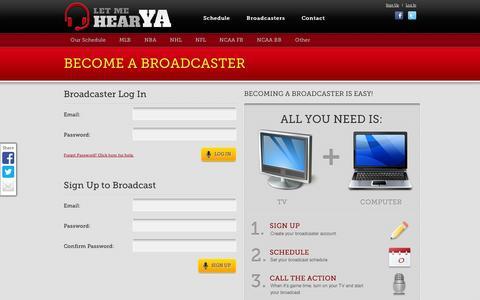 Screenshot of Signup Page letmehearya.com - LetMeHearYa.com - captured Sept. 11, 2014