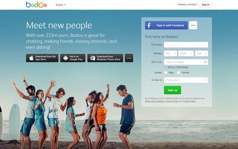 Screenshot of Home Page badoo.com - Meet People on Badoo, Make New Friends, Chat, Flirt - captured Jan. 15, 2015