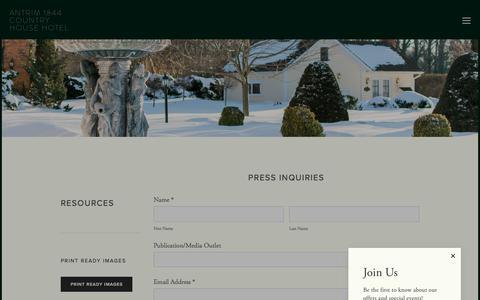 Screenshot of Press Page antrim1844.com - Press — Antrim 1844 Country House Hotel - captured Oct. 8, 2017