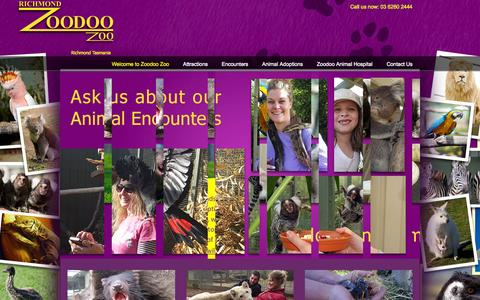 Screenshot of Home Page zoodoo.com.au - Zoodoo Wildlife Park - captured Oct. 9, 2015
