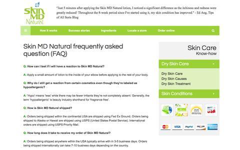Screenshot of FAQ Page skinmdnatural.com - FAQ – Natural Dry Skin Care Product: Skin MD Natural Shielding Lotion - captured Feb. 13, 2016