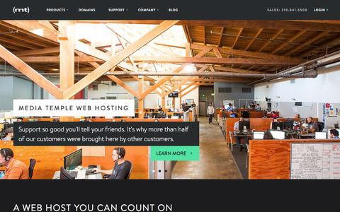 Screenshot of Home Page mediatemple.net - Web hosting services, website domains and VPS host - Media Temple - captured Sept. 7, 2015