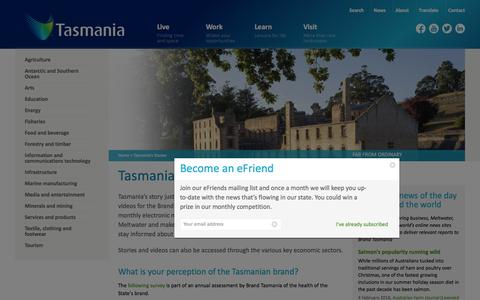 Screenshot of Press Page brandtasmania.com - Tasmania's Stories | Brand Tasmania - captured Feb. 8, 2016
