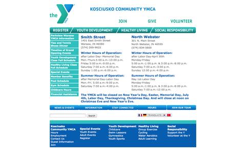Screenshot of Hours Page kcymca.org - Hours of Operation - captured Oct. 6, 2014