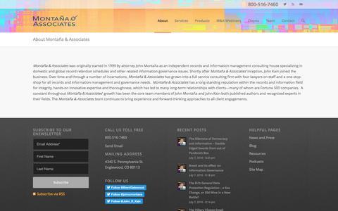 Screenshot of About Page montana-associates.com - Montaña & Associates and Information Governance  | Montaña and Associates - captured May 5, 2017