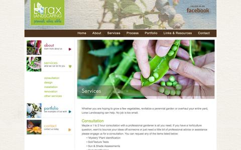 Screenshot of Services Page loraxlandscaping.com - Services «  Lorax Landscaping | Perennials, Natives, Edibles | Epping, NH - captured Sept. 30, 2014