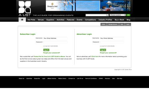 Screenshot of Login Page alistguide.com.au - A LIST Guide Advertiser Login - captured Sept. 24, 2014