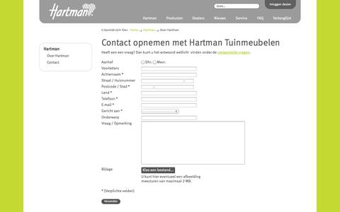 Screenshot of Contact Page hartman.nl - Contact opnemen met Hartman Tuinmeubelen | Hartman - captured Oct. 2, 2014