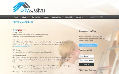 Screenshot of Terms Page loftysolution.com - Terms & Conditions - - captured Sept. 30, 2014