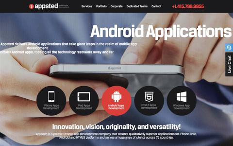Screenshot of Home Page appsted.com - Appsted - Mobile App Design & Development | Custom Mobile Application Development Company - captured Sept. 19, 2014