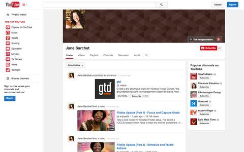 Screenshot of YouTube Page youtube.com - Jane Sarchet  - YouTube - captured Nov. 2, 2014