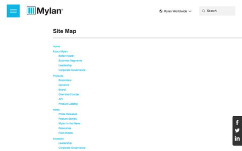 Screenshot of Site Map Page mylan.com - Mylan - captured April 5, 2019