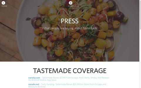 Screenshot of Press Page tastemade.com - Tastemade - captured Sept. 11, 2014